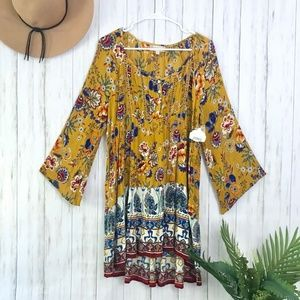 Altar'd State | Mustard Paisley Hippie Dress NWT S